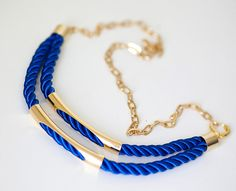 Navy Blue Nautical Cord Necklace with golden chain and by pardes, $29.00