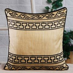 Elegant Border Design Cushion Cover Brown Designs Covers
