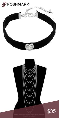 """Juicy Couture Black Faux-Suede Heart Choker NWT A dazzling crystal heart embellishes this Juicy Couture black faux-suede velvet heart choker.  NECKLACE DETAILS: Length: 11 in. with 3-in. extender Chocker & Charm : 5/8"""" wide choker, 5/8"""" long charm clasp: spring-ring Plating: silver tone  displayed on pink """"Juicy Couture"""" jewelry card. Juicy Couture Accessories"""