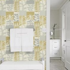 Hammons Block Botanical Wallpaper by Brewster - Lelands Wallpaper Bathroom Wall Coverings, Small Half Baths, Contemporary Beach House, Shelf Paper, Unique Shelves, Focal Wall, Open Cabinets, Botanical Wallpaper, Mid Century Style