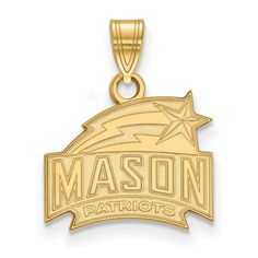 Sterling Silver w/GP LogoArt George Mason University Small Pendant