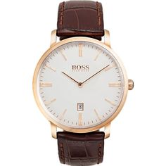 Shop designer clothes and accessories at Hugo Boss. Find the latest designer suits, clothing & accessories for men and women at the official Hugo Boss online store. Hublot Watches, Big Watches, Sport Watches, Cool Watches, Watches For Men, Dress Watches, Brown Leather Strap Watch, Dark Brown Leather, Second Hand Watches