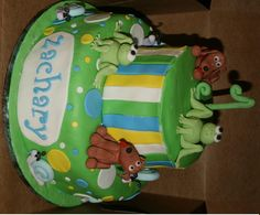 Frogs, Snails, and Puppy Dog Tails! - All fondant with gumpaste animals.  For a little boy's first birthday.