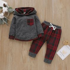 Baby Boy Trendy Plaid Long-sleeve Hoodie and Pants Set Baby Outfits Newborn, Baby Boy Outfits, Kids Outfits, Baby Newborn, Baby Girl Fashion, Kids Fashion, Autumn Fashion, Jogger Pants Outfit, Joggers
