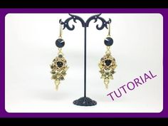 TUTORIAL PERLINE [35] - Orecchini Blair, coppetta copri goccia. (Beading tutorial) - YouTube