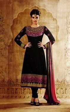 Black Georgette Unstitched Dress Material
