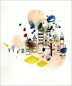 I like the drawing style and the loose background of this illustration by Malota via Flickr.