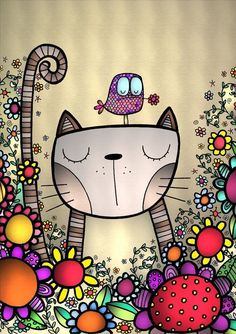 Or how to use a hobby, coloring, to make cards for family and friends … - Metarnews Sites Doodle Art, Happy Paintings, Watercolor Art Paintings, Cat Drawing, Whimsical Art, Rock Art, Cat Art, Painted Rocks, Art For Kids