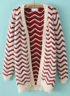 Red Long Sleeve Zigzag Striped Cardigan US$32.62