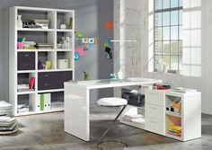 Space Writing Desk Home & Haus Colour: High-gloss lacquered white/Rough-cut oak Corner Writing Desk, Corner Desk, Retro Desk, Buy Desk, Solid Wood Desk, Floating Desk, Large Desk, L Shaped Desk, Secretary Desks