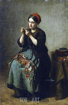 Painting Title: Peasant Woman Threading a Needle, 1861 | Artist: Jules Breton (1827-1906) | Fine Art Painting Reproduction by TOPofART.com