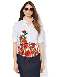 Shop 7th Avenue Design Studio - Madison Shirt - French Cuff - Floral . Find your perfect size online at the best price at New York & Company.