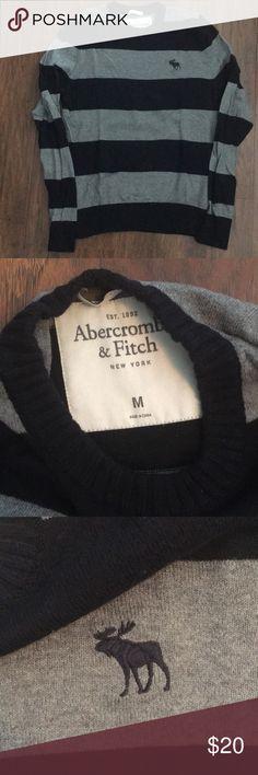 Navy & grey light weight sweater Abercrombie & Fitch light weight striped sweater. Navy and grey. Cotton Abercrombie & Fitch Sweaters Crewneck