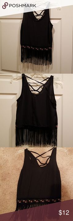 Black fringed Crop Top - Size Small Cute black fringed crop top for a night out. Size small. Good condition from a clean smoke free environment. Monteau Tops Crop Tops