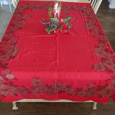 Holiday Tablecloth Christmas Red with Poinsettias by CoconutRoad