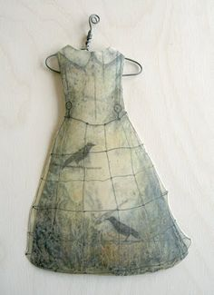 "Wow; what an amazing little paper dress by Alicia Tormey. Dipped in encaustic medium (bee's wax & resin) with hanger measures 10"" tall by 6"" wide."