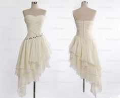 ivory prom dresses mismatch prom dresses short prom by Yesdresses, $129.00