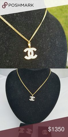 18k Solid gold Brand new without tag. Beautiful chanel style 18k solid gold in  set. Necklace with chain, earring and ring. Chain is 16 inches long, ring size is 6. Jewelry