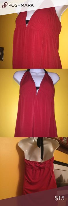 Halter Top Venus Swimwear Red Black Padded Top Venus Swimwear size small but this runs BIG. Would fit a Medium to large. Padded bust, tie Halter Top. NEVER WORN! VENUS Tops Tank Tops