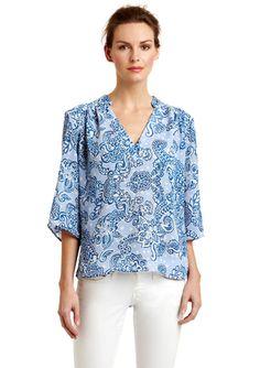 LARSEN GRAY          Batik Print V-Neck Pullover Top