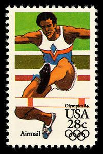 This hurdling stamp is part of a series celebrating different sports and games played at the 1984 Summer Olympics.