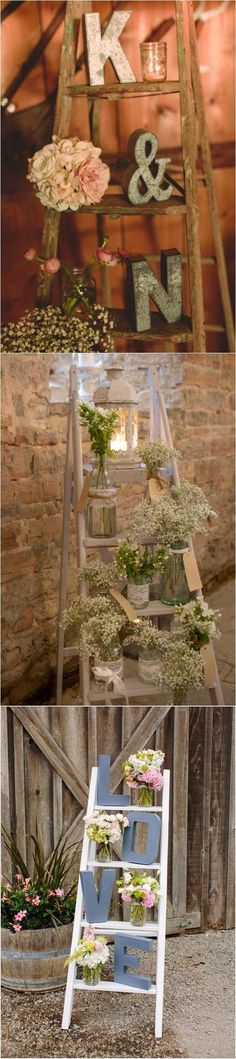 Country Weddings » 22 Rustic Country Wedding Decoration Ideas with Ladders » ❤️ More: http://www.weddinginclude.com/2017/06/rustic-country-wedding-decoration-ideas-with-ladders/ #BarnWeddingIdeas