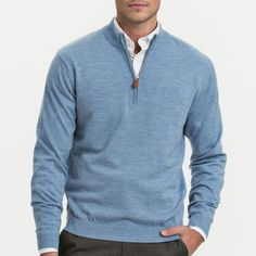 <p>You wont find a more classic merino ¼ zip wool sweater on the market. An understated tonal left chest logo provides just enough pop. You asked for it and boy did we deliver. · 1/4 zip sweater · Ribbed collar, and cuffs · Tonal badge logo at chest · 100% Merino Wool · Imported</p>
