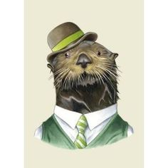 Sea otter (with a hat !) print by Berkley Illustration