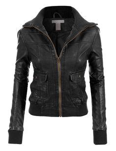 LE3NO Womens Faux Leather Zip Up Biker Moto Jacket