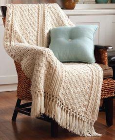 Aran Afghans To Crochet: Basket weave, twist and rod pattern.