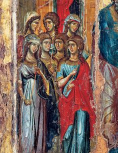 Young Women escorting the Mother of God (to where? Detail from an icon of the Purification of Mary. Museum, Monastery of Chilandar, Mount Athos. Some of the ladies have their hair out, others are veiled. Religious Images, Religious Icons, Religious Art, Byzantine Icons, Byzantine Art, Christian World, Christian Art, Russian Icons, Religious Paintings