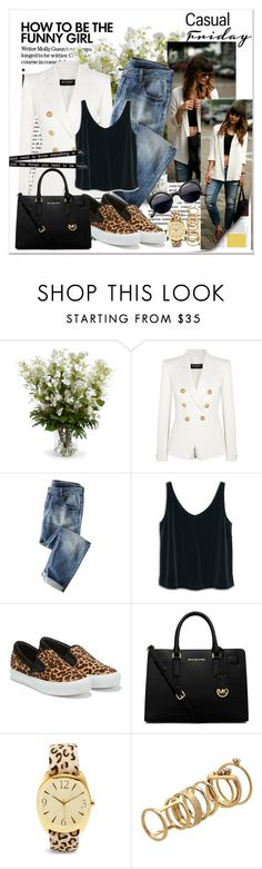 """Love casual style"" by ina-kis ❤ liked on Polyvore featuring New Growth Designs, Balmain, Wrap, MANGO, Salvatore Ferragamo, MICHAEL Michael Kors, Chico's and Lipsy"