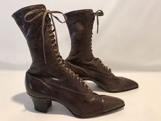 Women's Antique Vintage 1900's Victorian Era Lace-Up Boots Leather Brown #na #GrannyVictorianboots