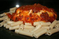 Slow Cooker Chicken Parm. Ingredients:  -2-4 boneless, skinless chicken breast halves  --1/2 cup bread crumbs  --1/4 cup parmesan cheese  --1/2 t Italian Seasoning  --1/4 t black pepper  --1/4 t kosher salt  --1 T olive oil  --1 beaten egg  --sliced mozzarella cheese  --favorite jarred marinara sauce