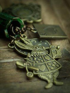 Danita Original Handmade Necklace Alice and the Wonderland book – Danita Art Diy Necklace Making, Hemp Necklace, Thing 1, Green Copper, Handmade Necklaces, Wearable Art, Beautiful Necklaces, Alice In Wonderland, Natural Stones