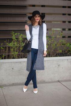 Spring Wardrobe | Boho Chic | Duster Vest Cardigan | Jeans and Heels | Floppy Hat | www.stylemissmolly.com