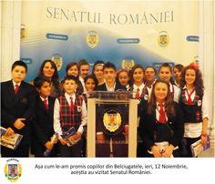 Asa cum le-am promis copiilor din Belciugatele, ieri, 12 Noiembrie, acestia au vizitat Senatul Romaniei. Copii sunt elevi ai Scolii Gimnaziale nr.1 Belciugatele, si au fost insotiti  pe parcursul vizitei de doamna profesoara Anghel Mariana. De la pupitrul destinat declaratiilor de presa oficiale, elevii au cerut vacante mai lungi:)
