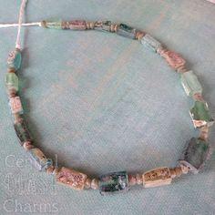 NEW LISTING ~ Ancient Roman Glass Bead Strand - Central Coast Charms - 0031 - Rustic Patina - Earthtones - Aqua Blue & Sea Glass Green
