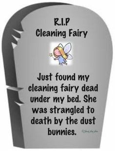 :)   HAHA anyone have a replacement i can borrow until i can hire another cleaning fairy...