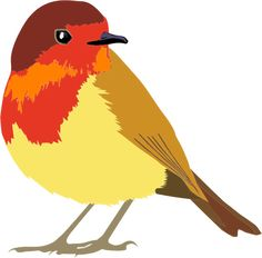 PublicDomainVectors.org-Vector image of colorful flying chick standing.