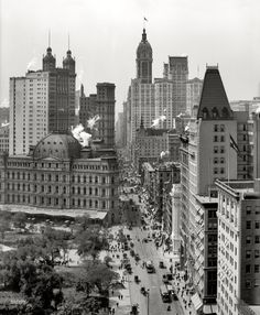 "A vertiginous view of New York circa 1910. ""Broadway from Chambers Street -- City Hall Park, Post Office, Park Row, City Investing and Singer buildings."" 8x10 inch dry plate glass negative, Detroit Publishing Company."