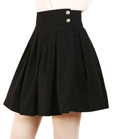Chouyatou Women's Double Waist Side Buttons Pleated Skirt (X-Small, Black) at Amazon Women's Clothing store: