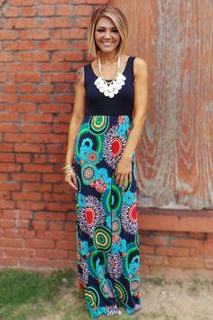 Navy Francesca Maxi Dress | The ZigZag Stripe
