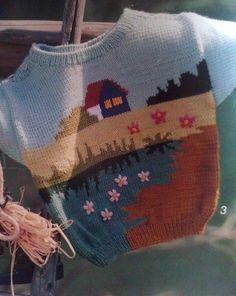 "Photo from album ""Verena"" on Baby Knitting Patterns, Baby Sweater Knitting Pattern, Intarsia Knitting, Knitting For Kids, Knitting Stitches, Knitting Projects, Crochet Baby, Knit Crochet, Pull Bebe"