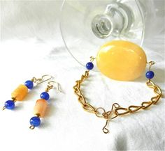 Golden Nephrite Jade and Blue Sapphire Beaded Bracelet and Earrings | craftsofthepast - Jewelry on ArtFire