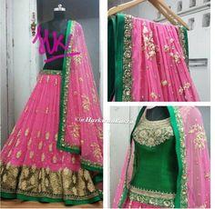 Harkiran Basra green and pink lengha