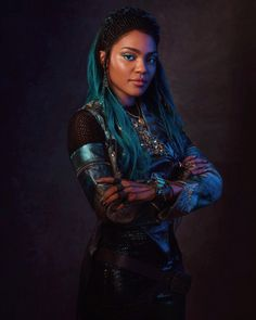 China Anne Mcclain as Iko Cameron Boyce, The Descendants, Descendants Characters, Descendants Costumes, Descendants Videos, Disneyland, Harry Hook, Isle Of The Lost, Mal And Evie