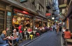 Centre Place off Flinders Lane in Melbourne bustles with shoppers and traders mid-morning. Each of Melbourne's laneways is unique. Centre Place is famous for its cafes, some ridiculously tiny, and its vibrant street art. Melbourne Cafe, Melbourne Laneways, Melbourne Australia, Melbourne Victoria, Victoria Australia, Soho, Sydney, New Urbanism, Canada
