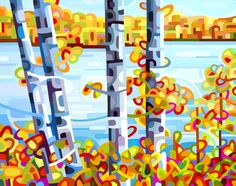 LakesideA lazy fall day with birches, autumn shores and a blue, blue lake.This is a large print of my original painting. It is printed on premium matte paper with archival inks. The image a...