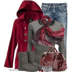 Casual Outfits | Casual Day in Cranberry and gray